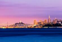 San Francisco, California Colorful Skyline. Sunset During The Holiday Season.