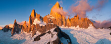 Sunrise On Mount Fitzroy From The Summit Of Nearby Cerro Madsen In Argentina's Los Glaciers National Park.