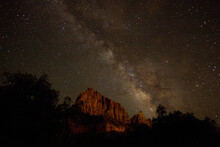 Milky Way Galaxy Over The Watchman In Zion National Park, UT.