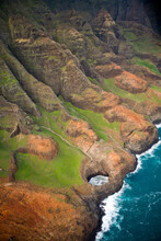 Aerial Shots Of The Napali Coast Of The Island Of Kauai In Hawaii As Seen From A Helicopter