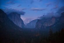Night Beginning Winter In Yosemite Valley, Yosemite National Park, California.