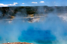 Excelsior Geyser In The Midway Basin, Blue Means The Hottest Temperatures. Yellowstone National Park.