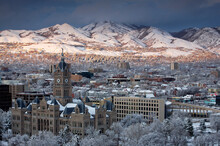 View Of Downtown Salt Lake City, UT With Wasatch Mountains.