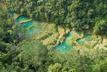 An Overhead View Of Semuc Champey, A Natural Monument On The Cahabon River Near Lanquin, Guatemala.