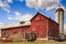 Old Red Barn On A Farm In Walden, New York