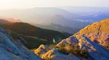 Santa Monica Mountains Nat. Recreation Area, Malibu, CA: Sunset Over 11 Layers Of Mountains With Lone Yucca In The Center Shot