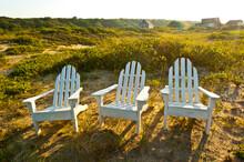 Adirondack Chairs On Lawn At Martha's Vineyard Near The Beach