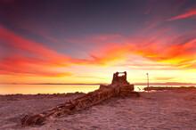 Sunset On The Salton Sea Crane In Southern California