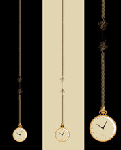 A Gold Pocket Watch Is Seen In Three Versions, Dangling On A Frayed Cord That Is About To Break In This Illustration About Running Out Of Time.