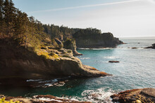 The Pacific Ocean Boils Below The Cliffs Of Cape Flattery.