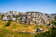 Jerusalem, Israel-27 April 2021: View On Silwan Or Siloam Is Arab Neighborhood In East Jerusalem, On Outskirts Of Old City Of Jerusalem. Part It Builted Atop Necropolis Cemetery Of Ancient Judea
