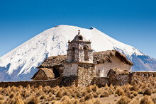 An Old Colonial-era Church Located On The High-altitude Altiplano In Sajama National Park In Bolivia.