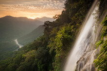 A View Of The Cangrejal River And The Nombre De Dios Mountain Range Taken By Rappelling Down The Bejuco Waterfall In Pico Bonito National Park, Honduras.