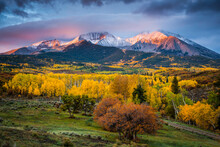 Mt Sopris Sunrise. A Forest Of Color And Mountain Range In Colorado