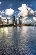 Jacksonville, FL: A View Of Downtown Jacksonville And The Main Street Bridge From The Acosta Bridge