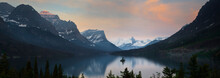 Glacier, Montana: Wild Goose Island Reflecting In St Mary Lake During Sunrise