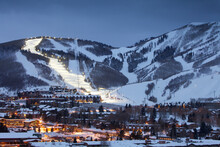 Winter Cityscape Of Park City Mountain Resort And Deer Valley Resort, UT