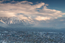 View Of Salt Lake City With University Of Utah Campus As A Winter Storm Clears Out.