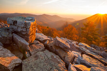 Sunset From Blackrock Summit Along The Appalachian Trail In Shenandoah National Park, Virginia.