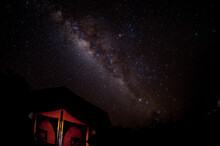 The Milky Way Over A Camp Tent In Tanzania.