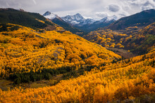 A Storm Clears Over Capitol Peak In The Fall Near Aspen, Colorado.