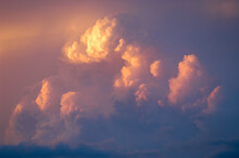 Sunset And Storm Clouds Above Denver, Colorado During A Summer Thunderstorm.
