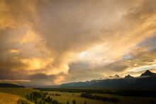 A Heavy Thunderstorm Moves East Over Jackson Hole, Wyoming From The Teton Mountains In Grand Teton National Park.