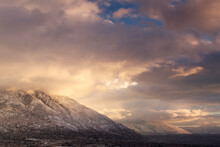 Winter Landscape Image Of Salt Lake Valley With Mountains And Clouds.