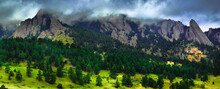 Boulder, CO: A Storm Hangs Around Town For The Day, Sweeping Across The Rocky Tops Of The Flatirons.