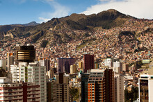 The Sky-high Capital City Of La Paz, Bolivia Lies At500' (asl) In A Deep Canyon Below The Andes Mountains.