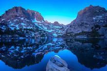 First Light Upon Backcountry Peaks. John Muir Wilderness, CA.