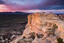 Evening Light Lighting The Sandstone Bluffs, El Malpais National Monument, New Mexico