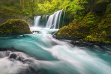 The Fierce Flow And Aquamarine Water Of Spirit Falls On The Washington Side Of The Columbia Gorge.