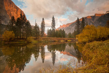 Fall Sunset On The Merced River, Yosemite National Park
