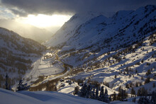 Winter Landscape Image Of Little Cottonwood Canyon With Alta Ski Area At Sunset.