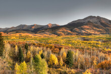 Kebler Pass At Sunset During The Peak Of Fall Colors In Colorado