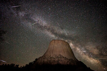 The Eta Aquarids Meteor Shower Over Bear Lodge, Also Known As Devils Tower, In The Black Hills Of Wyoming.