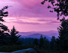 A Colorful Sunset In The Mountains Of The Southern Sierra Nevada.  Sequoia National Park, California, United States.