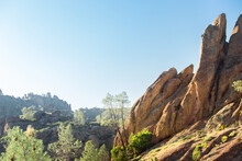 A Landscape View Of The Sisters Rock Formation In Pinnacles National Park, California.