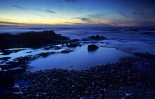 Rocky Beach At Sunset, Belinho, Parque Natural Do Litoral Norte, Portugal.