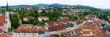 Melk, Austria: Panorama From Above Quaint Village With Many Colorful Buildings, Mountains In The Background