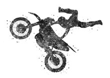 Motocross Freestyle Black And White Watercolor Art, Abstract Sport Painting. Sport Art Print, Watercolor Illustration Artistic, Greyscale, Decoration Wall Art.