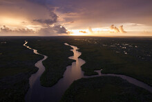 Sunrise Over Waterways And Creeks Taken From A Helicopter Within Everglades National Park, Florida.