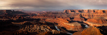 Stormy Sunrise High Resolution Panoramic Of Dead Horse Point State Park In Utah.