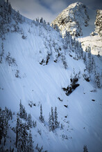 Skier Makes Turns Down The Widow Maker Face Near Mount Baker Ski Area.
