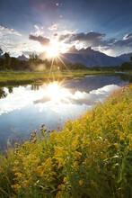 Sunset At Schwabacher Landing, Grand Teton National Park, Wyoming.