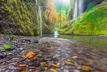 Water Pours From The Walls Of Eagle Creek Canyon After A Recent Rainstorm, In Oregon's Columbia River Gorge.