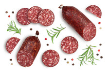 Smoked Sausage Salami With Slices Isolated On White Background With Clipping Path And Full Depth Of Field. Top View. Flat Lay