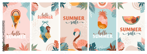 Bohemian Summer, set of modern summer sale story template designs with rainbow, flamingo, pineapple, ice cream and watermelon  - fototapety na wymiar
