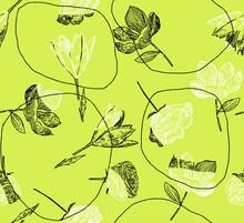 Lime Light Floral Seamless Pattern. Hand Drawn Large Flower Buds. Flower Silhouettes. Botanical Background. Summer Garden Texture.